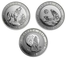 2015 - 2017 3/4 oz (2.25 oz) Canadian Silver Howling Wolves Coin Complete Set BU