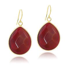 18K Gold Plated Carnelian Glass Fashion Teardrop Earrings