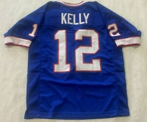 UNSIGNED CUSTOM Sewn Stitched  HALL OF FAME JIM KELLY Blue Jersey - XL