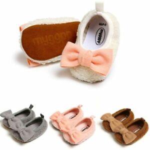 Newborn Baby Girls Shoes Bow Knot First Walker Winter Warm Soft Fleece Sole Gift