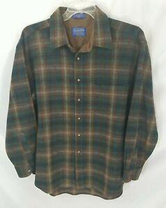 Pendleton Multicolor Plaid Long-Sleeve Button-Front Wool Shirt Men's XL