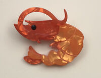 Unique large Shrimp Brooch  Pin In acrylic