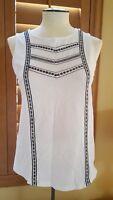 Sz S P Old Navy Women's Blouse Top Sleeveless Tank White Lightweight Wear used