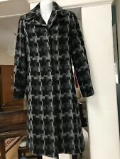 SISLEY size 40 Fitted Coat Black/Gray Geometric Pattern Wool Mohair Italy