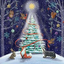 Christmas Cards Forest Tree 10 Pack With Envelopes Charity Xmas Fox Shining Star