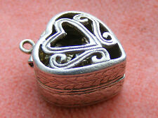 VINTAGE STERLING SILVER CHARM HEART BOX OPENS TO A RING