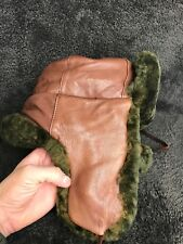 Vintage Mad Bomber Flap Hunting Genuine Leather Dyed Green SHEARLING Hat Sz M