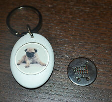 PERSONALISED PUG SHOPPING TROLLEY LOCKER COIN KEYRING PUGS DOG DOGS