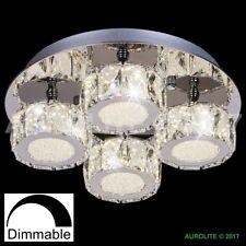AUROLITE POLO Dimmable Crystal LED Semi Flush Ceiling Light, 32W 4000K 4 Lights