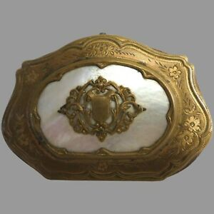 Antique Vintage Coin Purse Mother of Pearl Gold Coloured Trim Stunning