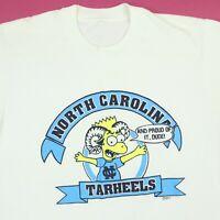 Vtg UNC North Carolina Tarheels T-Shirt M? 90s Bart Simpson Parody Rare