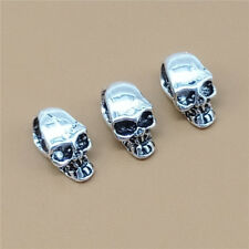 8 Sterling Silver Tiny 3D Skeleton Skull Beads 925 Silver for Bracelet Necklace