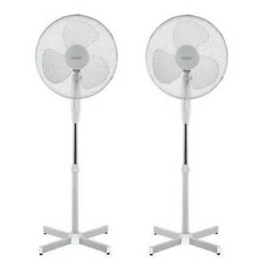 """2x 16"""" Oscillating Pedestal Air Cooling Electric Fan Extendable Adjustable Stand"""