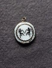 Antikes Silber Emaille Medaillon, Blumenkinder
