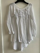 WHITE BARDOT TOP LACE 14 SUMMER HOLIDAY IBIZA MARBS GLAM CUTE PRETTY COTTON CHIC