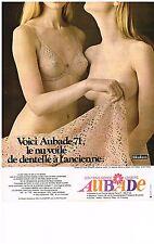 publicité advertising  1971   AUBADE   soutien gorge nu voilé