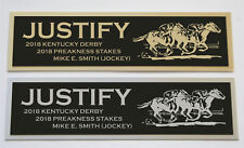 JUSTIFY Kentucky Derby Preakness Mike E. Smith Nameplate for signed photo