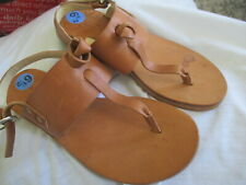RAG & BONE CLAIRE BROWN ALL LEATHER T-STRAP SANDALS, SIZE 6.5M