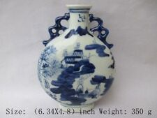 The ancient Chinese blue and white porcelain vase. Jiangnan scenery