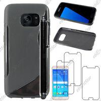 Housse Etui Coque Silicone Noir Samsung Galaxy S7 G930F + Stylet + 3 Films