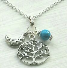 TURQUOISE GEMSTONE TREE OF LIFE MOON SILVER CHARM PENDANT NECKLACE WICCA PAGAN