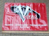 Vega Helmet Advertising Banner Thick Vinyl Sign Moto Scooter ATV VTG Tech Gear
