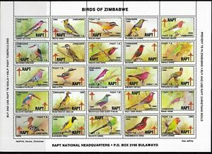 Zimbabwe 1990 Birds of Zimbabwe RAPT Sheet of 25 Superb MNH