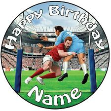 """Rugby Tackle icing Cake Topper Decoration 8"""" (20cm) Circle - ANY NAME & AGE"""