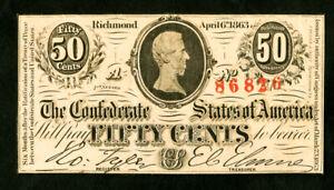 US Paper Money 1863 50c Confederate NO RESERVE!