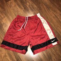 Vtg 90s NIKE Red Striped Glanz Wet Look Nylon athletic Soccer Shorts MENS MEDIUM