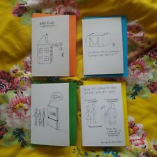 Pack of 4 Funny Cartoon Greeting Cards - for all occasions, blank inside