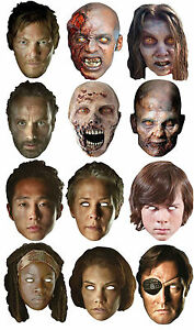 Official THE WALKING DEAD Daryl Rick Zombie card Party Face Masks Halloween Mask