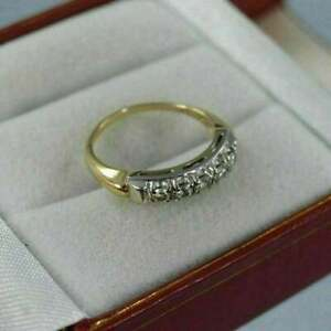 1.00Ct Round Cut Simulated Diamond Vintage 14k Yellow Gold Fn Engagement Ring
