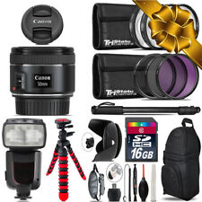 Canon EF 50mm f/1.8 STM Lens + Professional Flash & More - 16GB Holiday Gift Kit