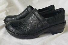 BOC Born Concept Peggy Black Floral Tooled Slip On Clog C45797 Womens Size 9.5