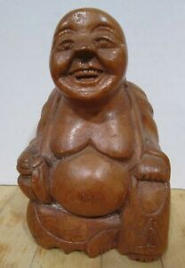 """Vintage carved unknown wood 5.5"""" sitting Happy Buddha - VGC"""