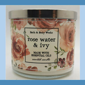 Bath And Body Works ROSE WATER & IVY 3-Wick Large Scented Gifts Candle 2020