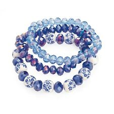 Pack of 3 Blue Flower Elasticated Bracelets Ladies Fashion Jewellery