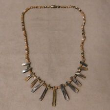 """Abalone Spikes and Beads Necklace 19 5/8"""""""