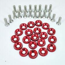 20Pcs Red JDM Billet Aluminum Fender/Bumper Washer/Bolt Engine Bay Dress Up Kit
