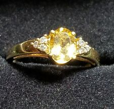 GOLD TONED STERLING SILVER TOPAZ & CUBIC ZIRCONIA RING Sz 7