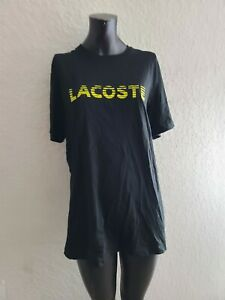 Lacoste Sport Mens Size 6 Black Yellow Short Sleeve T Shirt