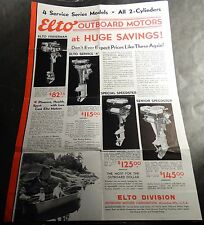 """VINTAGE 1933 ELTO OUTBOARD MOTOR SALES BROCHURE POSTER SIZE 21"""" x 14""""  (805)"""