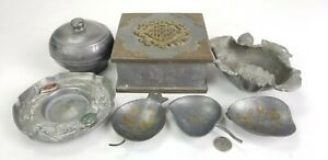 Lot of Antique Chinese Pewter Boxes Dishes Plate Trays 19/20th C. Ngan Hinshun