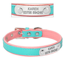 Custom Personalized Dog Collars Leather Engraved Chihuahua Poodle Necklace Pink