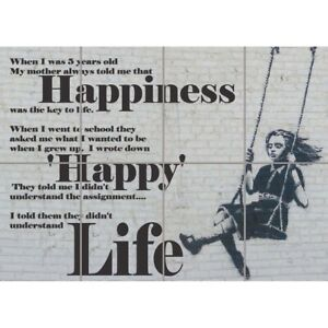 Happy Banksy Girl Swinging Quote Graffiti Wall Art Multi Panel Poster Print