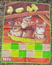 Vintage 1976 French Tea Towel Cute Kitties & Fluffy Chicks With Calendar Unused