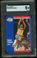 1991-92 Fleer #100 Earvin Magic Johnson SGC 9 = PSA 9? LA Lakers HOF