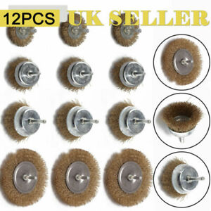 12x Drill Wire Wheel Brush Cup & Flat Crimped Steel Drill Attachments Brushes UK