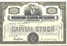 Stock certificate International Telephone & Telegraph Corp. + 4 stamps 1954
